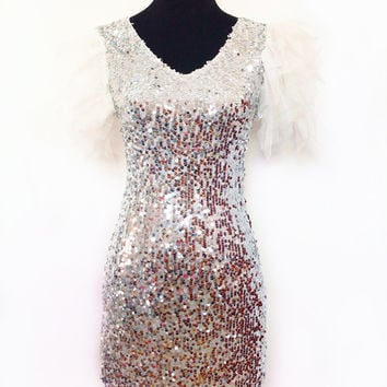 2015 new fashion y sequined dress Puff sleeve v-neck lace dress costumes mini party dress Alternative Measures - Brides & Bridesmaids - Wedding, Bridal, Prom, Formal Gown
