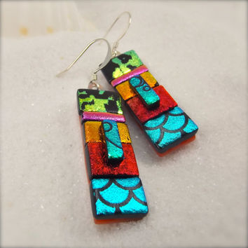 dichroic glass earrings, jewelry, gift, statement earrings, modern rainbow earrings, what's trending now in jewelry,glass earrings,handmade