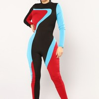 Diving Into The Deep End Jumpsuit - Burgundy/Blue