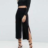 ASOS Wide Leg Pants with Splits at asos.com