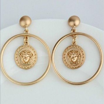 ONETOW VERSACE WšThe new Medusa earrings female long section Han fashion jewelry large earrings temperament earrings
