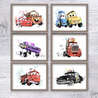 Cars Disney watercolor print Set of 6 Disney Cars poster Cars watercolor illustration Kids room wall art Disney wall decor Nursery art V459