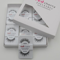 12 Pairs Soft False Fake Human Hair Eyelashes Adhesives Glamour Eye lashes Red_Cherry Makeup Beauty Wholsale
