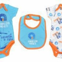 Akademiks Newborn Boys Seaside Blue & Orange Printed Bodysuit 3Pc Set