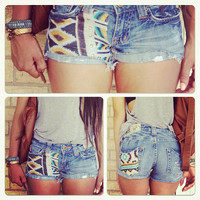 Tribal aztec print with studs low rise Miss Me cut by FatLipBella