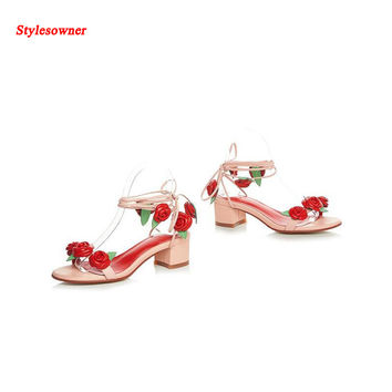 Stylesowner Sweet Pink Color Lady Rose Flower Sandal Shoe Exquisite Ankle Bandage Lace Up Cool Summer Sandal Women