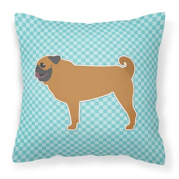 Pug Checkerboard Blue Fabric Decorative Pillow BB3747PW1818