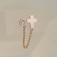 Cross and Diamond Single Side Earring