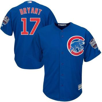 Men's Chicago Cubs Kris Bryant Majestic Royal Alternate 2016 World Series Champions Team Logo Patch Player Jersey
