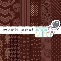 Dark Chocolate Brown Digital Paper Pack – neutral papers for scrapbooking, invitations, cards, web backgrounds – instant download – CU OK