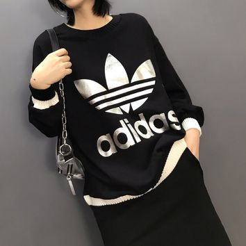 """Adidas"" Women Casual Fashion Multicolor Sequin Logo Letter Long Sleeve Sweater Loose Tops"