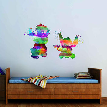kcik2083 Full Color Wall decal Watercolor Lilo & Stitch Character Disney Sticker Disney children's room