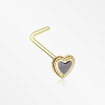 Golden Valentine Lacey Heart L-Shaped Nose Ring
