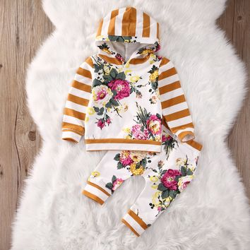 3Month -7years autumn Unisex baby clothes set Hooded Sweatshirt Tops Floral Pants
