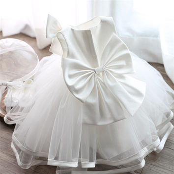 Newborn Baby Girls Dresses Princess 1 Year Birthday Baby Girl Dress White Formal Christening Gown Dress Cute Bow For Infant 0-2Y