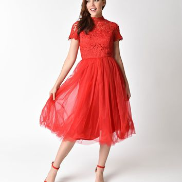Chi Chi London 1950s Style Red Lace High Neck Short Sleeve Joy Swing Dress