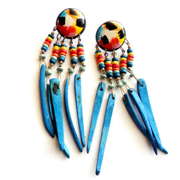 Vintage Beaded Wood Pierced Earrings - Tropical Summer Style - Wooden Dangle - Blue Rainbow Painted - Island Vacation - Festival Gear