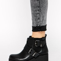 River Island Chunky Harness Biker Boots at asos.com