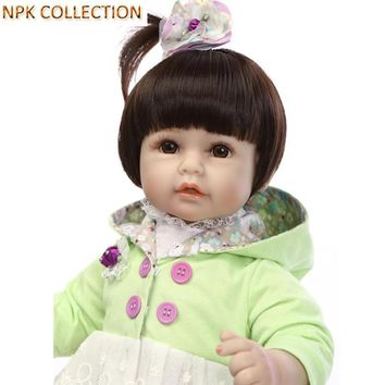 NPKCOLLECTION 45CM Silicone Reborn Dolls Kids Playmate Gifts for Girls 18 Inch Real Dolls Reborn Baby Alive Soft Toys for Kids