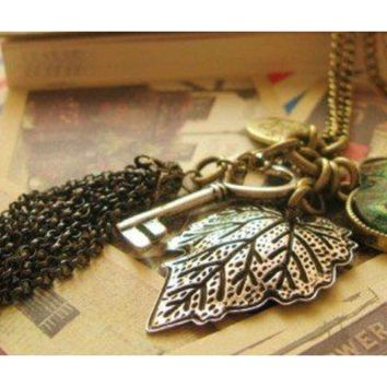 Fashion Women Vintage Long Sweater Peacock Feather Leaves Key Tassels Pendant Necklace