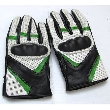 Leather Motorcycle Gloves with Armour Guard on Knuckles White Black Green