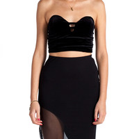 Velvet Strapless Cropped Top - Black