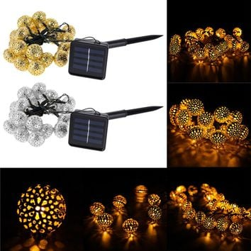 Solar Power 20 LED Lights For Garden Tree Wedding Decoration String Fairy Ball Party Light Garland Outdoor Waterproof Light