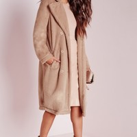Missguided - Longline Double Breasted Teddy Fur Coat Camel