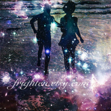 Astronomy Art Print, Astral Waters, Colorful Stars and Ocean Print