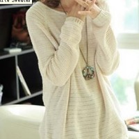 Beige Loose Bat Sleeve Hollow Sweater -white