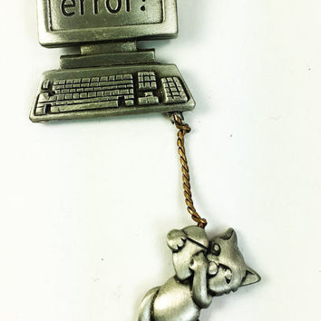 Mouse Error Vintage Pewter Look Brooch Designer Signed JJ - Computer Jewelry