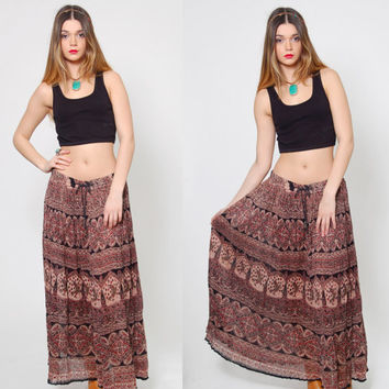 Vintage 90s INDIAN Maxi Skirt Long CRINKLE Skirt Boho Ethnic BIRD Print Festival Skirt Broom Skirt