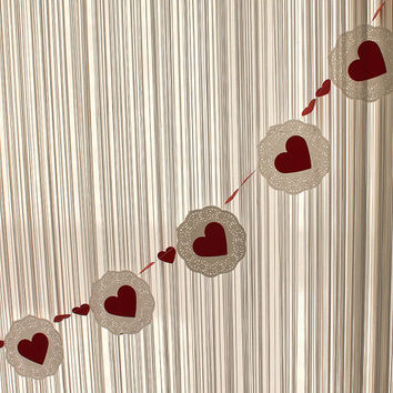 Paper Lace Garland with Red Hearth, Wedding Decor, Wedding Garland, Bridal Shower Decor, Photo Prop, Romantic Garland