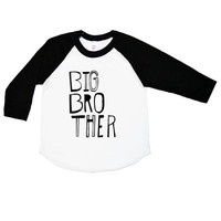 Big Brother Shirt - Three Quarter Sleeve Sketchy Big Bro Kids Shirt - Boys Clothing For Baby and Toddler - Kids Clothes Trendy Baseball Tee