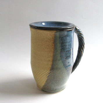 Yellow & Blue Ceramic Mug with Lid, Covered Mug - Handmade Pottery