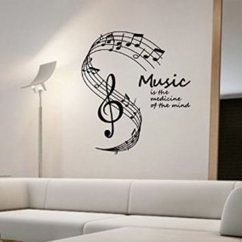Music Notes Wall Decal Vinyl Art Home Decor Medicine Of The Mind Quote