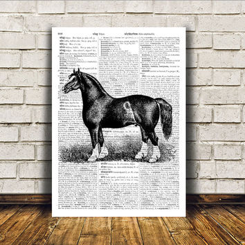 Dictionary print Animal art Horse poster Modern decor RTA390