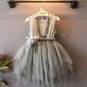 Girls Summer Dress Mesh Gray