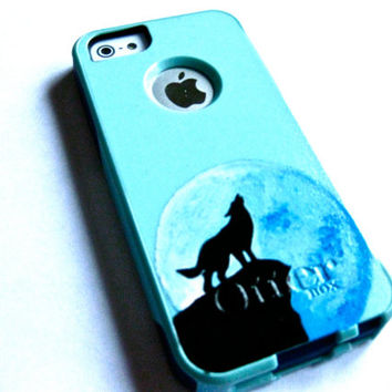 iphone 5 Otterbox case,cute glitter otterbox case , Baby blue iphone 5/5s case, iphone 5s case,Iphone 5 cover,wolf iphone 5 commuter series