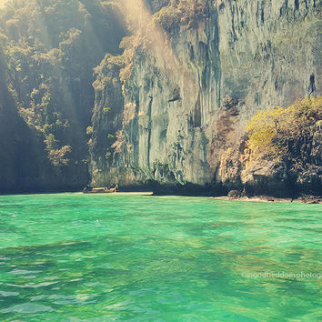 Ocean print, Sea photography, emerald green, Thailand, sunrays, aqua, nautical decor, coastal fine art print, home decor, wall decor