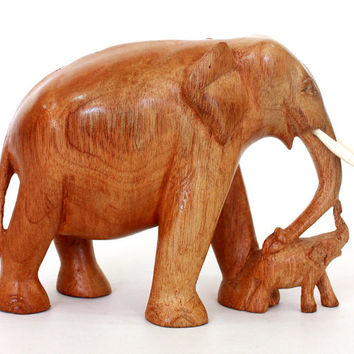 Elephant with baby Figurine - Hand carved wood mahogani from old Sri Lanka technology