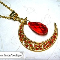 Gold Tone Filigree Crescent Moon Necklace with Red Crystal Bead Wiccan Pagan Celestial Jewelry