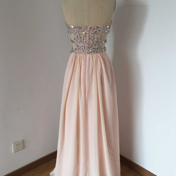 Sweetheart Pale Pink Chiffon Long Prom Dress with Front Slit