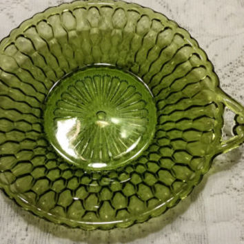 Avocado Green Handled Serving Dish vintage green glass