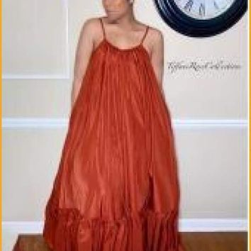 Extended Sizes Red Solid Ruffled Straps Sleeves Female Maxi Dresse