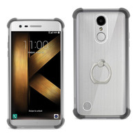 Reiko REIKO LG K20 V/ K20 PLUS TRANSPARENT AIR CUSHION PROTECTOR BUMPER CASE WITH RING HOLDER IN CLEAR BLACK