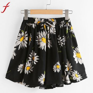 Summer Elastic Waist Floral Printed Regular Print Drawstring Short Pants