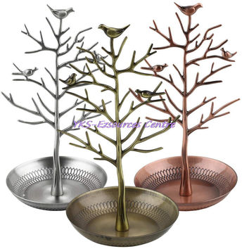Retro Earring Ring Jewelry vintage Bird Tree Stand Display Organizer Holder Show Rack Jewelry Holder Ring Display