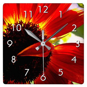 Giant red orange daisy close-up photo wall clock