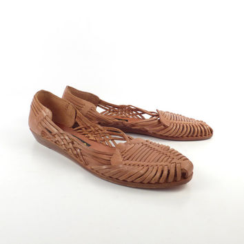 Leather Woven Sandals Vintage 1980s Tan Brown Huaraches Women's size 12 B